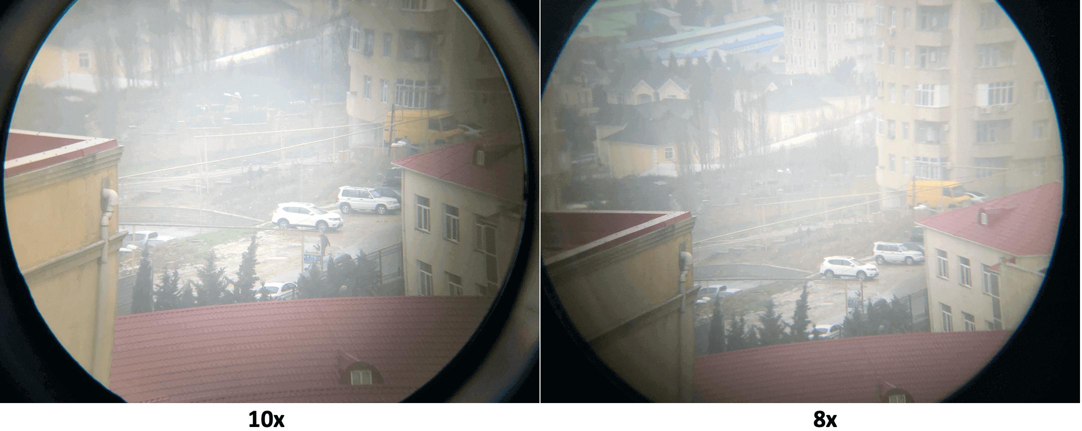 magnification 8x-vs -10x
